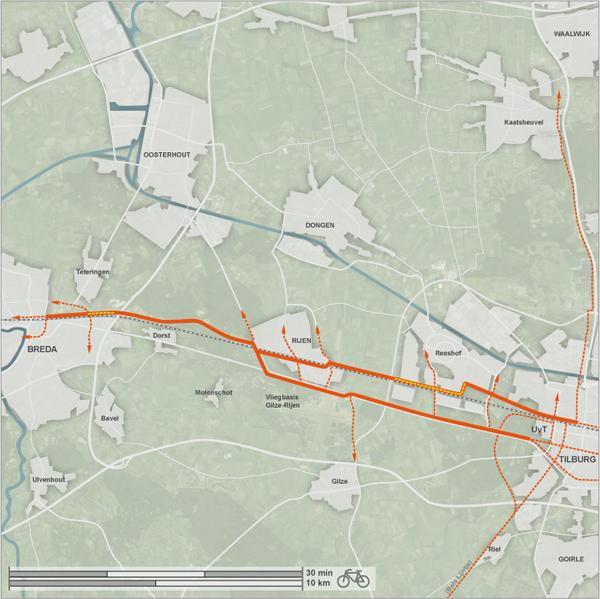 Voorgestelde tracés voor de fietssnelweg Breda - Tilburg