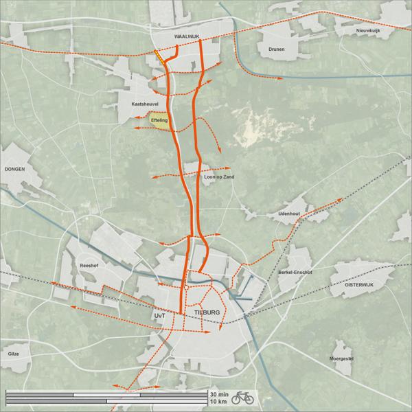 Twee mogelijke tracés voor de fietssnelweg Waalwijk - Tilburg
