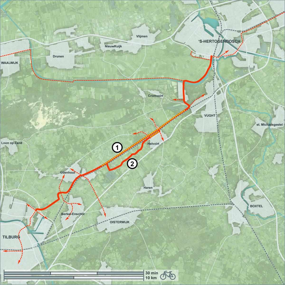 Kaart met voorgestelde tracé tussen 's-Hertogenbosch en Tilburg. Gele stippen duiden nieuwe infra aan, rest is over bestaand netwerk