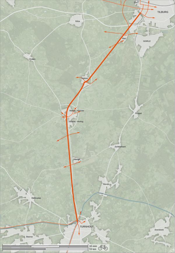 De fietssnelweg Turnhout - Tilburg zal over het Bels Lijntje lopen