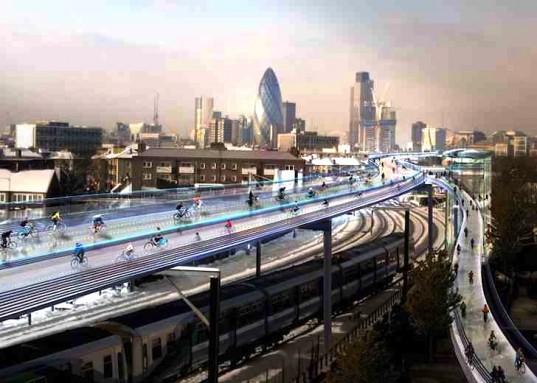 Het Britse architectenbureau van Norman Foster stelt een netwerk van fietssnelwegen voor in London om de bereikbaarheid van de stad te verbeteren